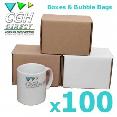 100 Super Strong Impact Resistant Cardboard Mug Mailers With Bubble Bags - Brown or White - Smash Proof