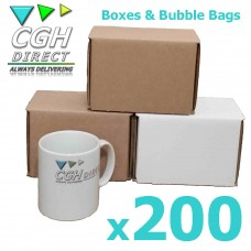 200 Super Strong Impact Resistant Cardboard Mug Mailers With Bubble Bags - Brown or White - Smash Proof