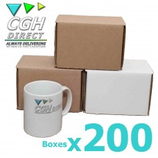 200 Super Strong Impact Resistant Cardboard Mug Mailers - Brown or White - Smash Proof