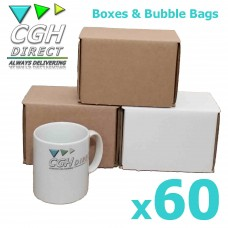 60 Super Strong Impact Resistant Cardboard Mug Mailers With Bubble Bags - Brown or White - Smash Proof
